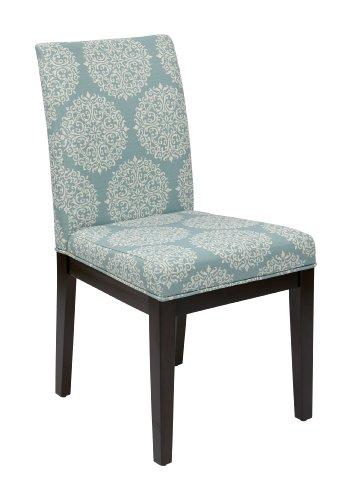 OSP Home Furnishings Dakota Upholstered Parsons Chair with Espresso Finish Wood Legs, Gabrielle Sky
