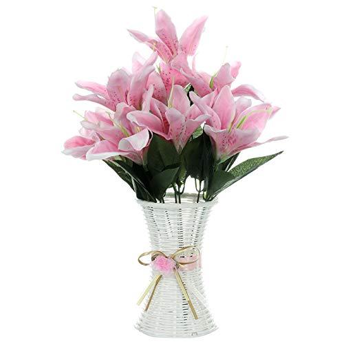 Kslogin Lys Artificiales 10 flores de seda de Lys, flores de boda, decoración de la casa, orquídeas tigres, decoración de flores de seda artificial