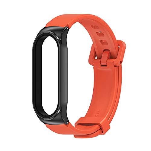 per Miband 5 4 3 Bracciale Smart Gel Silice per Mi Band 5 Cinturino in Silicone Correre per Xiaomi Mi3 Opaka Bend 4 Pulseira Braccialetti (Color : CS Orange Black, Size : for Mi Band 3 4 5)