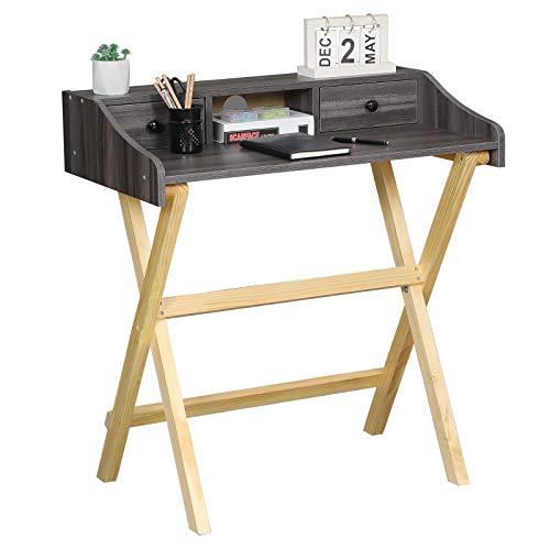 Itaar Schreibtisch klappbar, platzsparender Bürotisch, Kiefernbeine Computertisch für Homeoffice Arbeitszimmer Klappbar PC Tisch, 80x47.5x86cm, Grau