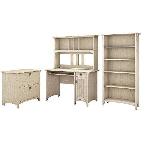 Bush Furniture Salinas Mission Desk with Hutch, Lateral File Cabinet and 5 Shelf Bookcase in Antique White