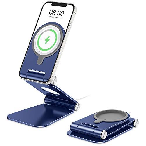 OMOTON Soporte Móvil para Cargador MagSafe, Soporte Plegable de Teléfono para Cargador MagSafe de Aluminio Compatible con iPhone 12/12 Pro/12 Mini /12 Pro MAX, No Incluido Cargador MagSafe, Azul