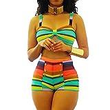 Bikini Summer Sexy Bikinis Rainbow Rayas Rayas Remorro De Mujer Ropa De Baño De Cintura Alta Bikini Set Botón Decoración De Traje De Baño-Apx2063,M