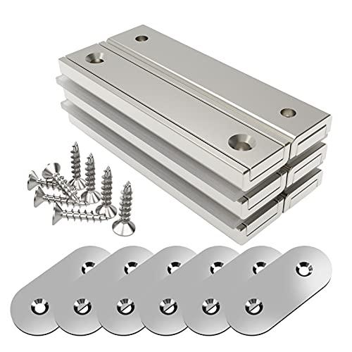 Magnetpro 6 piezas Imanes rectangulares 30 KG Kraft 60 x 13,5 x 5 mm con contrapartes y orificio avellanado, imán en recipiente doméstico e industrial con tornillos