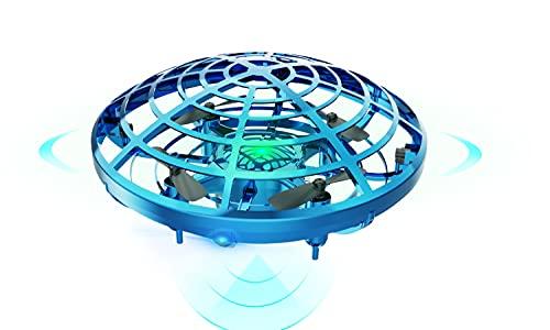 DEERC ドローン こども向け おもちゃ ラジコン ヘリコプター ドローン UFO ミニドローン ジェスチャー制御 室内 ハンドコントロール 五つのセンサーが搭載 360度回転 自動回避障害機能 自動ホバリング 2段階スピード調整 LEDライト付き プレゼント 贈り物 (青)