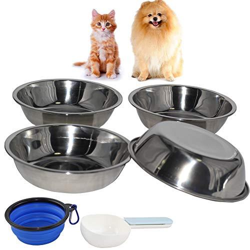 Katzennapf, Futternapf Katze, 5 Stück Katzennäpfe Edelstahl rutschfest Katzen Napf Set, Fressnapf Katze aus Edelstahl Futterschüssel Katze, Wasser Fütterung Schüssel