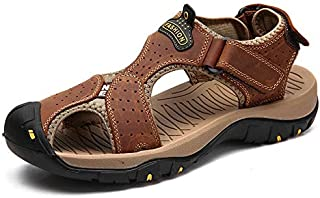 LSWL New Male Shoes Genuine Leather Men Sandals Summer Men Shoes Beach Sandals Man Fashion Outdoor Casual Sneakers Size 48 (Color : 7236 BROWN, Shoe Size : 48)