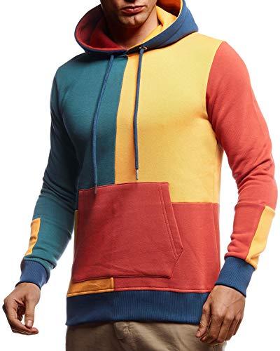 Leif Nelson Herren Hoodie Pullover mit Kapuze Kapuzenpullover für Männer Pulli Longsleeve Sweatshirt Langarm Slim Fit LN8349; Größe L, Bunt