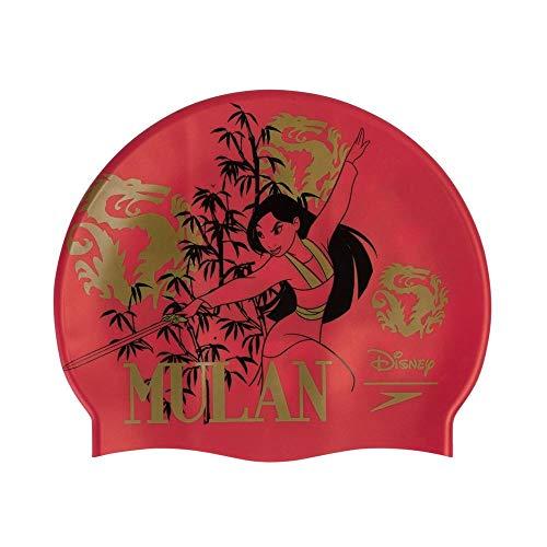 Speedo Cuffia Disney con Stampa Mulan, Nuoto Unisex-Adult, Rosso/Oro, One Size