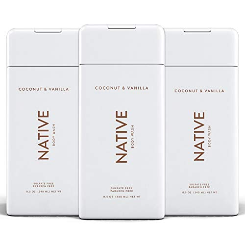 Native Body Wash 3 Pack - Natural Body Wash Made without Sulfates - Coconut & Vanilla Scent