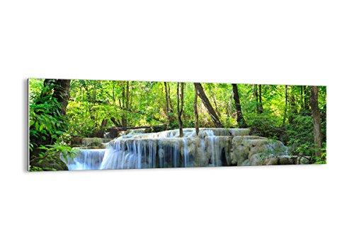 Bilder auf glas - Wasserfall Wald Umwelt - 160x50cm - Glasbilder - Wandbilder - Kunstdruck - zum Aufhängen bereit - Wanddekoration aus Glas - Glas Bilder - Wandbild auf Glas - GAB160x50-2664