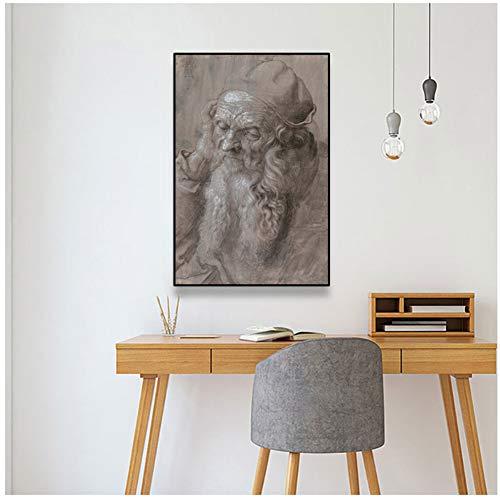 nr Selbstporträt Gemälde von Dürer, dem Vater des Selbstporträts Wandkunst Bild Leinwand Gemälde Retro Home Decor Poster -60x80cm No Frame