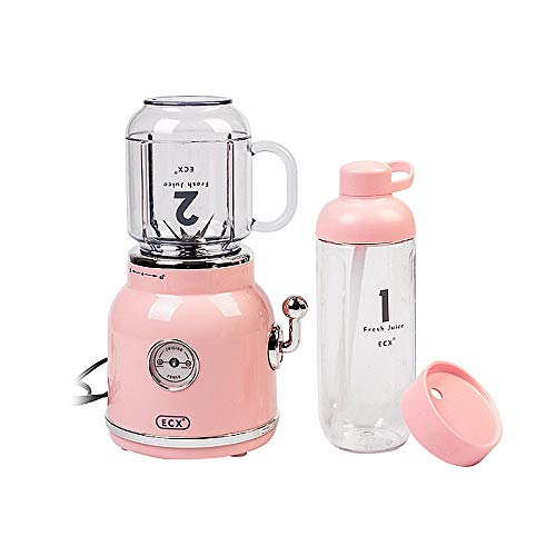 LAMCE Exprimidor Retro, Parachoques de Frutas, máquina de cocción de Alimentos complementarios, exprimidor portátil, Taza exprimidora Pink