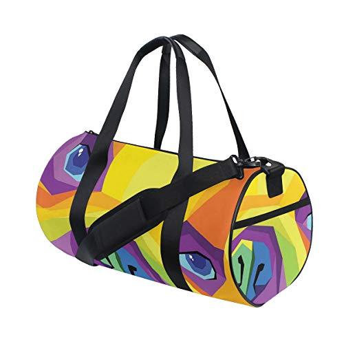 ZOMOY Barrel Bag,Progettazione Grafica Divertente Colorata Vibrante AST,Nuova Borsa Sportiva a Secchiello da Stampa Borse da Fitness Borsa da Viaggio in Tela Bagagli