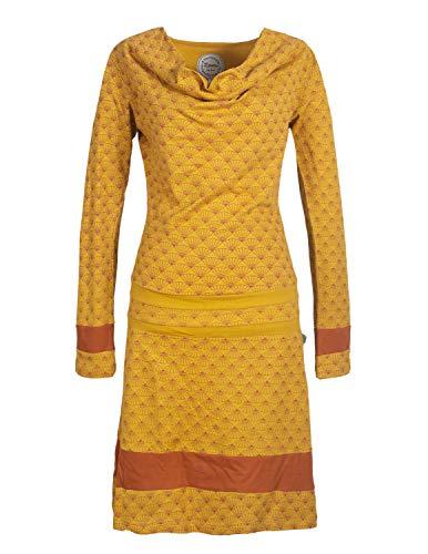 Vishes - Alternative Bekleidung - Langarm Damen Lagen-Look Tunika Jersey-Kleid Bedruckt Wasserfall-Kragen gelb 32