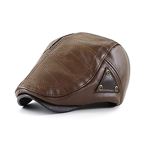 Men's Newsboy Hat Classic Flat Cap PU Leather Cabbie Ivy Hat Gatsby Driving Hunting Fishing Hat for Father Dad
