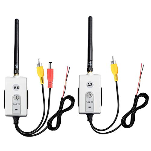 5.8 GHz Wireless Video Transmitter and Receiver Kit for The Vehicle Backup Camera and Car Rear View Parking Monitor