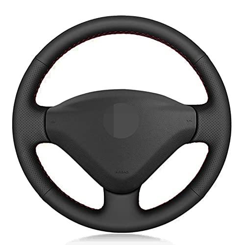 Ztuaalui Cubierta de Cuero para Volante de Coche, para Peugeot 207 2006-2014, para Expert 2008-2016, para Partner 2009-2018, para Fiat Scudo 2010-2016