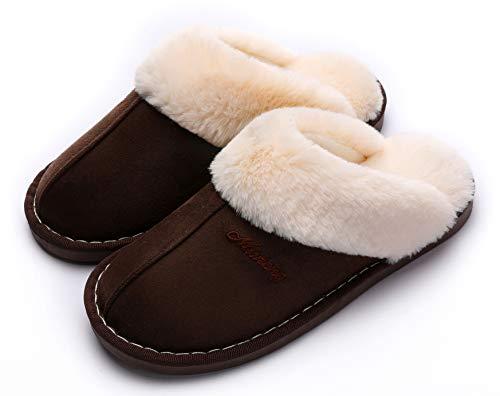SincereWay Women's Cozy Bedroom Slippers Fuzzy House Outdoor Slippers (Coffee,7-8)