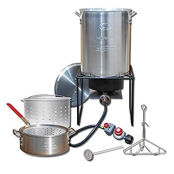 King Kooker Propane Outdoor Fry Boil Package with 2 Pots Silver one Size  12RTFBF3