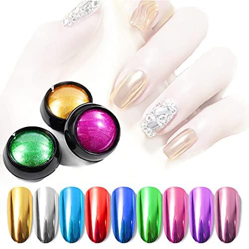 12 caja de purpurina para uñas, polvo para uñas, efecto metálico, polvo para uñas, oro rosa, plata, diseño cromado