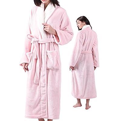 ALL AOER Womens Fleece Flannel Plush Bathrobe, Shawl Collar Ladies Long Robes