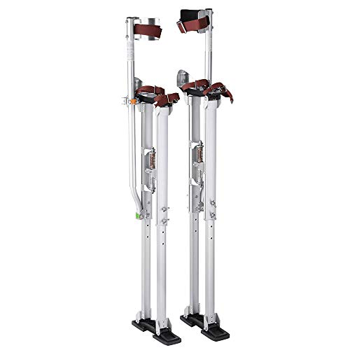 WeChef 36-50 inch Pro Aluminum Drywall Stilts Adjustable Height Lifts Tool Sheetrock Painting Painter Cleaning Silver