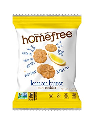 Homefree Treats You Can Trust Gluten Free Mini Cookies, Single Serve, Lemon Burst, 1.0 Ounce (Pack of 10)