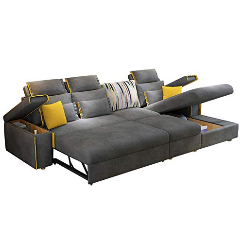 3 Seater Sofa Bed,Fabric L-Shaped Sofa with Corner Couch Lounge Sofa Chaise Settee Pull-Out Futon Couch Recliner with Wooden Legs And Practical Storage Box for Living Room Furniture