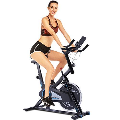 ANCHEER Spinning-Heimtrainer mit APP & 18kg-Schwungscheibe, Leichtgängig und Leise Fitnessbike, Hometrainer-Fahrrad Ergometer Indoor Cycling Bike mit Verstellbarem Sitz und Widerstand