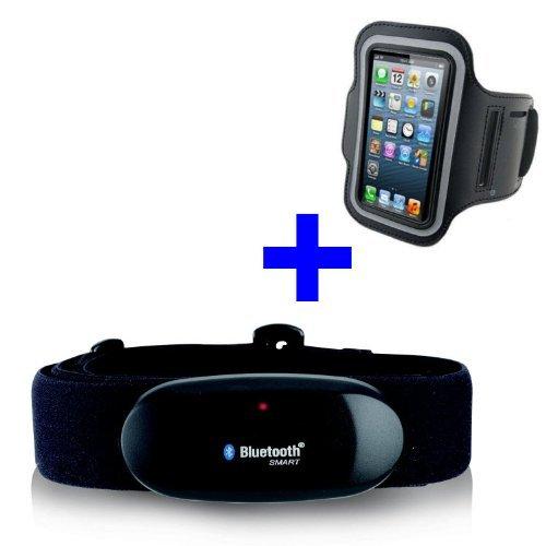 GO-SHOPPING24 Ceinture de poitrine Bluetooth 4.0 + brassard pour iPhone 4S / 5 / 5C / 5S / 6 / 6S / 6 Plus / SE / 7 / 7S / 7 Plus / 8 / X pour application Runtastic Pro