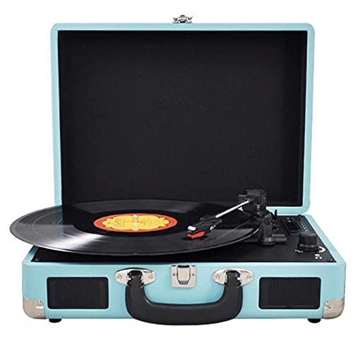 SXLCKJ Tocadiscos, Tocadiscos portátil de Vinilo con Bluetooth, 2 Altavoces estéreo Integrados, Reproductor de Vinilo Tipo Maleta de 3 velocidades 33/45/78 RPM,