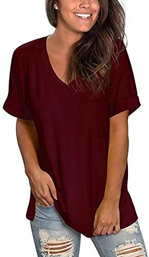 ZRDSZWZ Fiables camisetas de verano de manga corta con cuello en V para mujer (color B04-rojo vino, tamaño: pequeño)