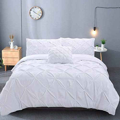 Luxury White Pintuck Duvet Cover King Size 3 Pieces Pinch Pleat Bedding Duvet Cover with Zipper Closure, Soft Microfiber Pintuck Quilt Cover for Home Bedding Decro King Size 220x230 cm
