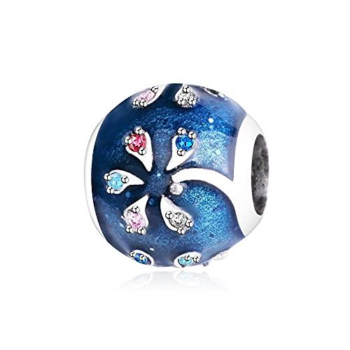 LIIHVYI Pandora Charms para Mujeres Cuentas Plata De Ley 925 Europa Colgante Colorido Árbol De Coco Joyería Compatible con Pulseras Europeos Collars
