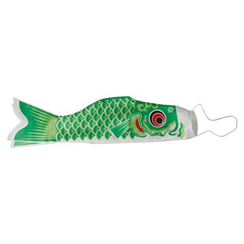 100cm Manche à Air Japonais Drapeau Koinobori Serpentin de la Carpe Banderole Vert