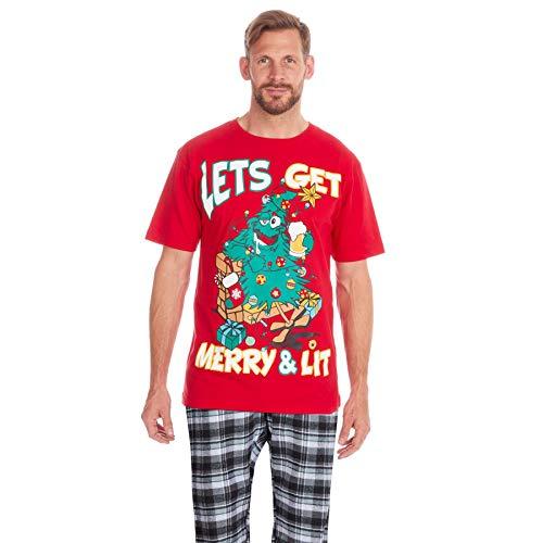 Style It Up - Pijama de Navidad para Hombre Rojo Red Xmas Tree - Merry & Lit Pyjama Set XL