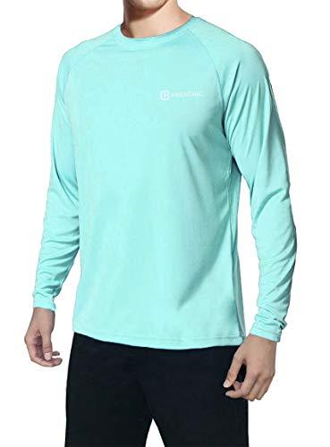 Pretchic Men's UPF 50+ UV Sun Protection Long Sleeve Outdoor T Shirt Mint XL