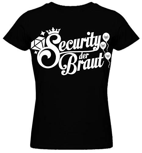 Junggesellinnenabschied Frau/Damen/Girlie T-Shirt - Braut- Security der Braut JGA Tshirt Junggesellenabschied (XXL, Schwarz/Security der Braut)