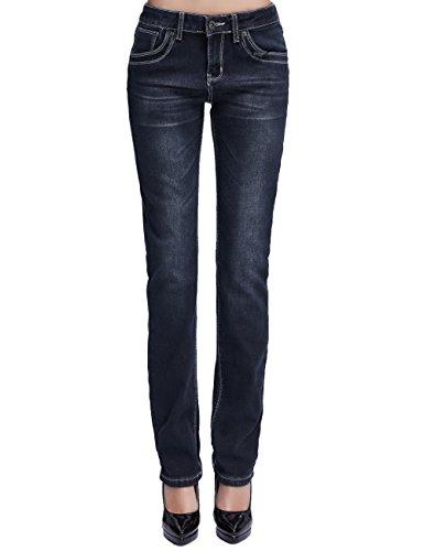 Camii Mia Damen Jeanshose Slim Fit Fleece Gefüttert Stretch Naht Low Rise Winter Dicke Thermo Jeans (W27 x L30, Dunkelblau)