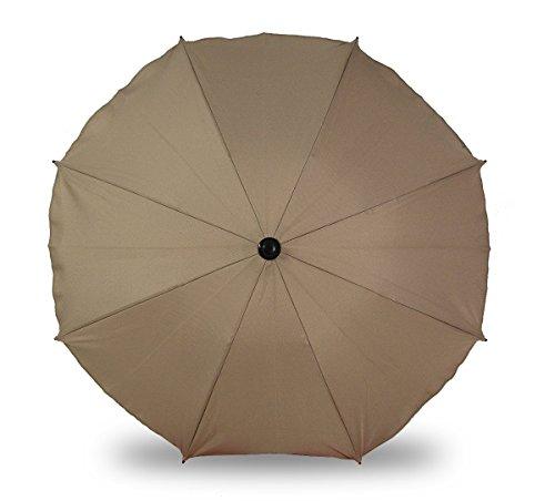 Sombrilla universal para cochecitos y sillas de paseo deportivas, paraguas con soporte universal, protección UV 50+, protección solar (beige)