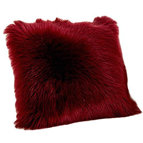 Funda de Cojín, Faux Fur Throw Deluxe Home Decorativo Cuadrados y Suaves Cojines PeloPara la Hogar Sofá Cama del Coche,Borgoña,45 * 45CM