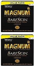TROJAN Mangum Bareskin Lubricated Condoms, Pack of 2 x (24 Count ) = 48 Condoms.