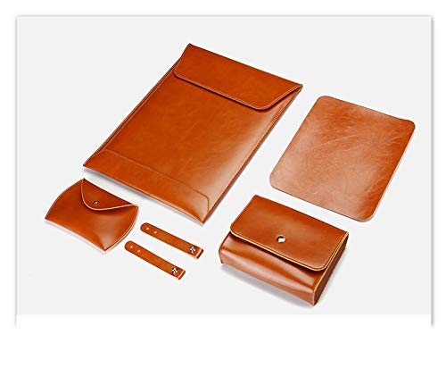 Laptop Sleeve Case 13 in for New MacBook Air 13 A1932 / MacBook Pro 13 A2159, Compatible with Surface Pro X/Pro7/Pro 6/Pro 5/Pro 4/Pro 3 - Microfiber Leather Protective Bag Cover with Small Bag, Brown