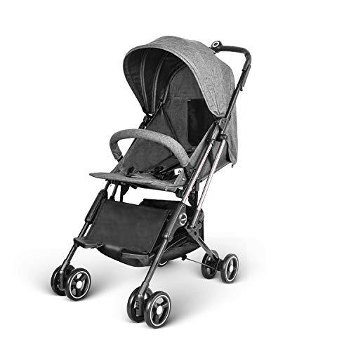 besrey leicht Kinderwagen Buggy mit Liegeposition Flugzeug Buggy Pushchair Stroller ins Flugzeug für Reise kompakt klein klappbar ab Geburt bis 3 Jahren - Grau