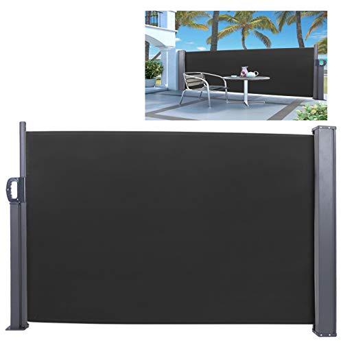 DD&Eren 100 * 300CM Toldo Lateral retráctil Impermeable para Exteriores Negro para jardín Patio Adecuado para Uso doméstico o Comercial
