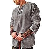 Men's Fashion Cotton Linen Shirt Long Sleeve...