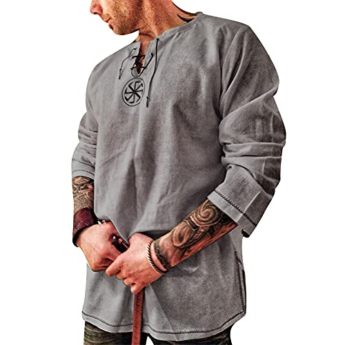 Men's Fashion Cotton Linen Shirt Long Sleeve Solid Color Ethnic Beach Yoga Top Gray XXXL