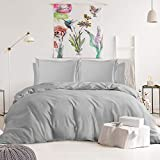 Nestl Bedding Duvet Cover 6-Piece Set - 1000 Thread Count Sheets - Tri Blend Cotton Duvet Cover with Zipper, Deep Pocket Fitted Sheet, 2 Cooling Pillow Cases, 2 Pillow Shams - King, Silver Gray