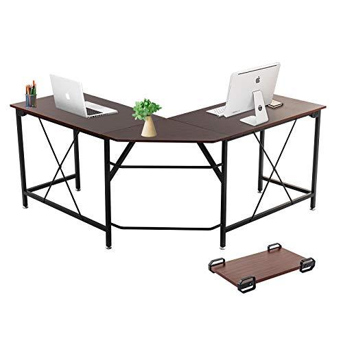 Dawoo L-förmiger Schreibtisch, Gaming-Computer-Eckschreibtisch PC Studio Table Workstation für das Home Office, 140 cm (L) * 50 cm (B) * 75 cm (H)(Walnussfarbe B)